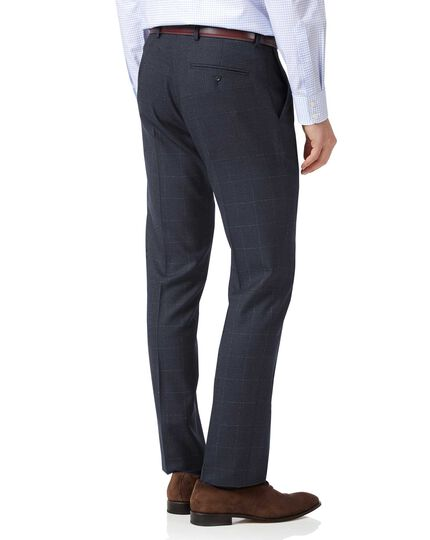 Blue slim fit jaspé check business suit trousers