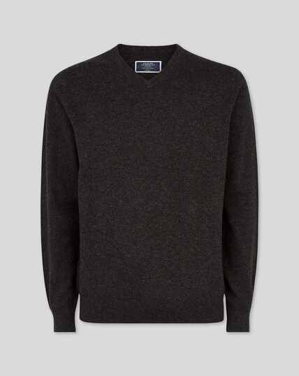 Cashmere V-neck Jumper - Charcoal