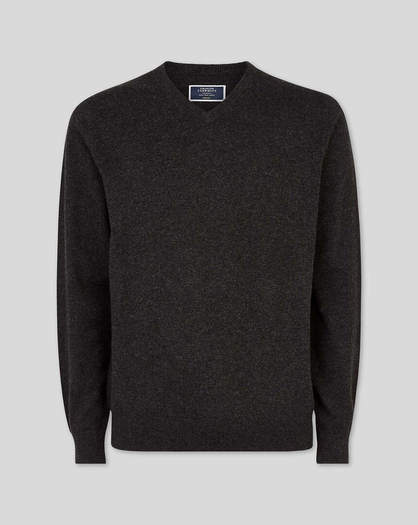 Cashmere V-neck Sweater - Charcoal