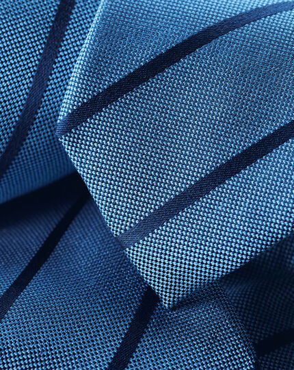 Slim Silk Stripe Tie - Blue & Navy