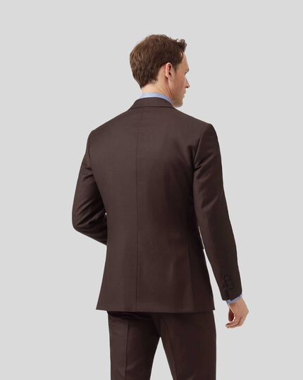 Twill Business Suit Jacket - Brown