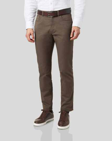 Cotton Stretch 5-Pocket Pants - Mocha