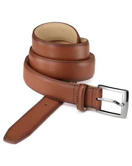 Dark tan leather dress belt