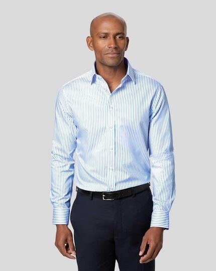Classic Collar Non-Iron Twill Stripe Shirt - White & Sky