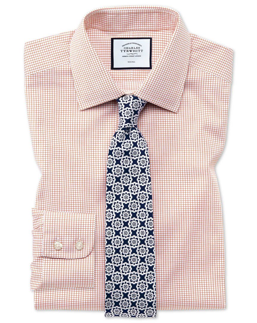 Extra slim fit non-iron twill mini grid check orange shirt