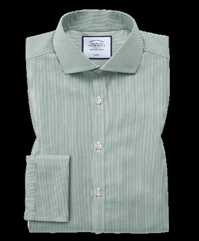 Chemise olive à rayures Bengale et col cutaway  extra slim fit sans repassage