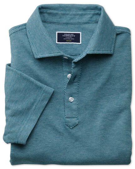 Polohemd mit Pfauenaugenmuster in Blaugrün & Weiß