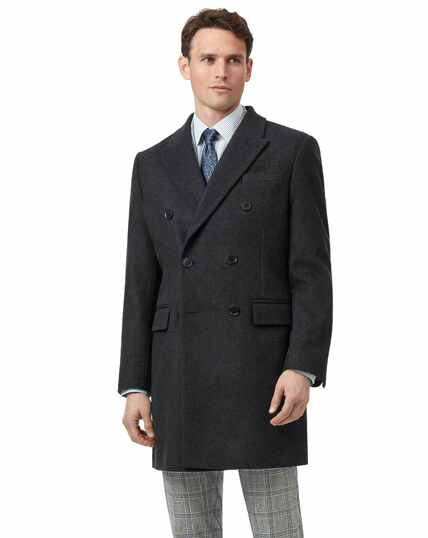 Charcoal Italian wool and cashmere double breasted Epsom overcoat