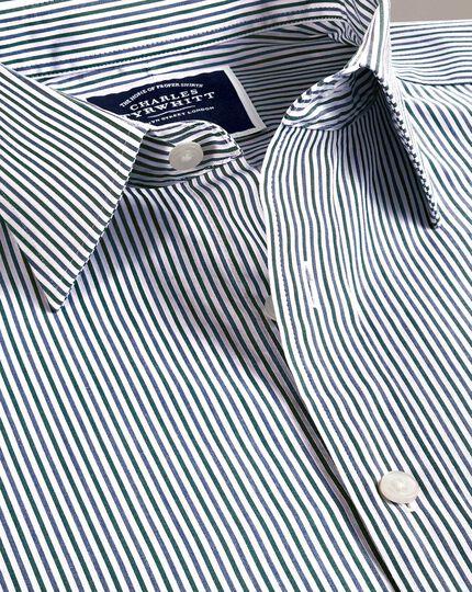 Vorgewaschenes, weiches Classic Fit Hemd mit Streifenmuster in Blau und Grün