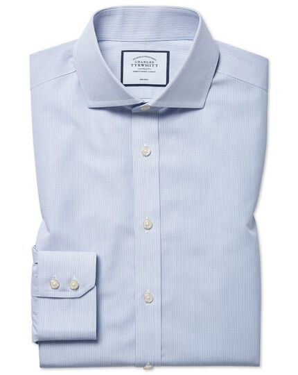 Slim fit non-iron blue stripe Tyrwhitt Cool shirt