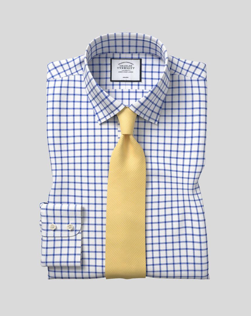 Classic Collar Non-Iron Twill Grid Check Shirt - Royal Blue