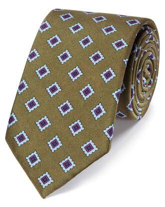 Klassische Krawatte aus Seide mit Muster in Oliv