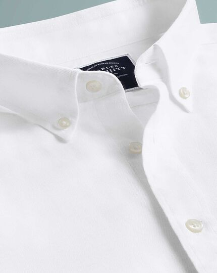 Slim fit white cotton linen twill short sleeve shirt
