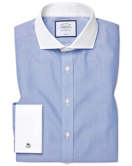 Non-Iron Winchester Spread Tripe Shirt - Blue And Red Stripe