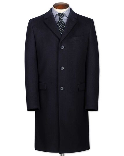 Slim fit navy wool and cashmere overcoat