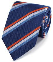 Navy and orange reppe stripe English luxury tie