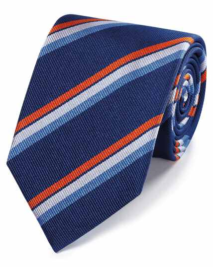 8ab19d9ebb0d ... Navy and orange reppe stripe English luxury tie