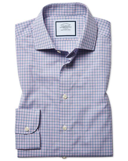 Extra slim fit peached Egyptian cotton pink and blue check shirt