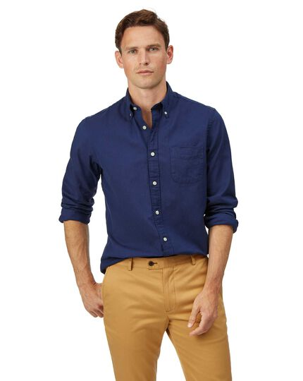 Slim fit button-down washed Oxford royal blue shirt