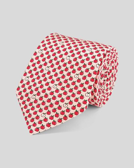 Apple Silk Print Classic Tie - Pink & Red