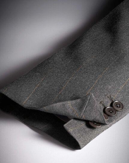 Veste de costume charcoal en luxueux britannique coupe droite à rayures