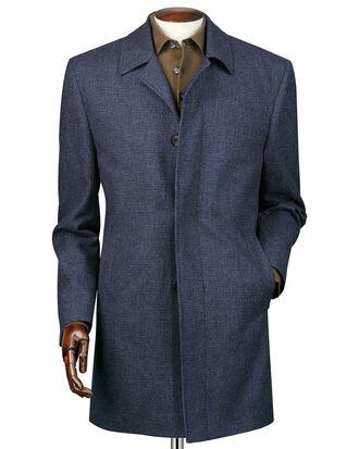 Manteau bleu acier en laine imperméable à motif pied-de-poule