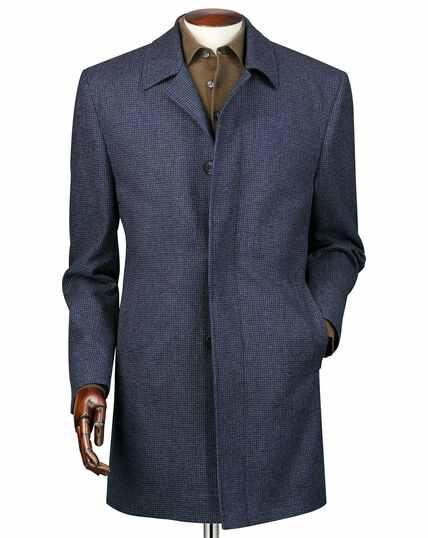 Wetterfester Car Coat aus Wolle mit Hahnentrittmuster in Airforceblau