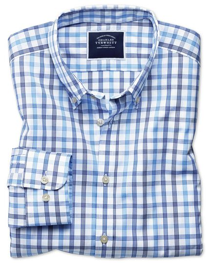 Large Check Non-Iron Poplin Shirt - White And Blue