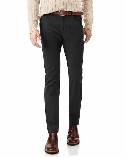 Charcoal diamond texture stretch 5-pocket trousers