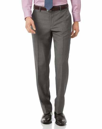 Grey classic fit jaspe business suit pants