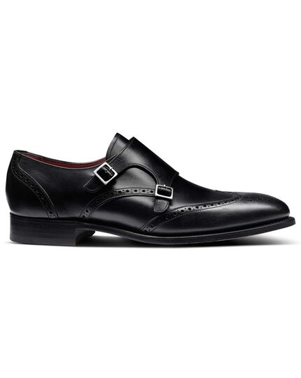 Black made in England double buckle monk shoe