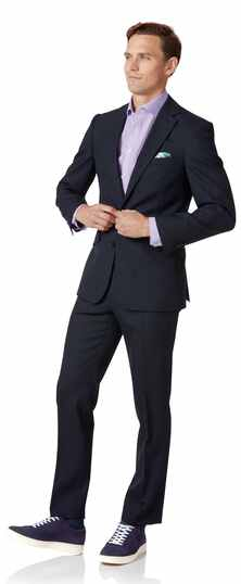 Middernachtblauw business pak met slanke pasvorm