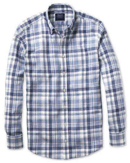 Slim fit blue and grey check cotton linen twill shirt