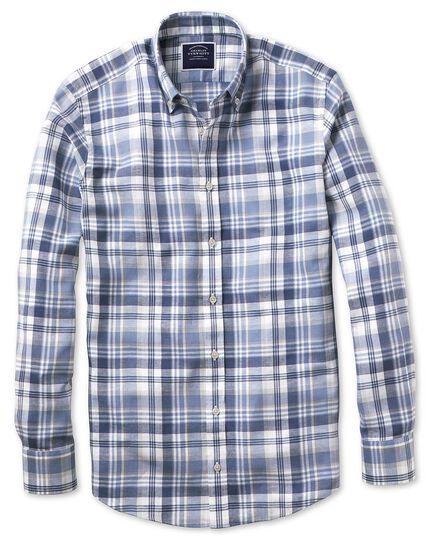 Slim Fit Twillhemd aus Baumwolle/Leinen mit Karos in Blau & Grau