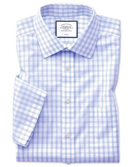 Slim fit non-iron natural cool short sleeve sky blue check shirt
