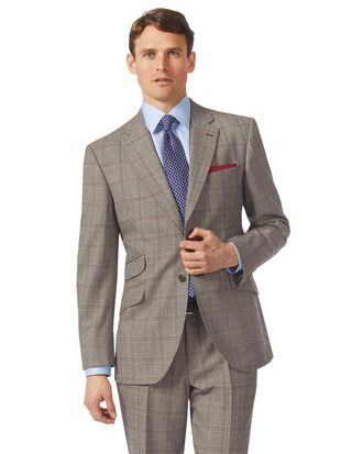 Grey classic fit British Prince of Wales check luxury suit jacket