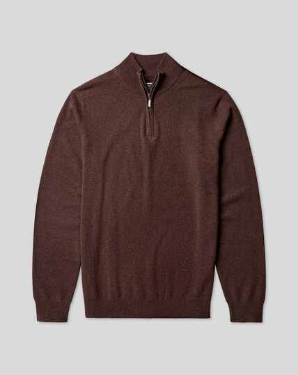 Cashmere Zip Neck Sweater - Chocolate