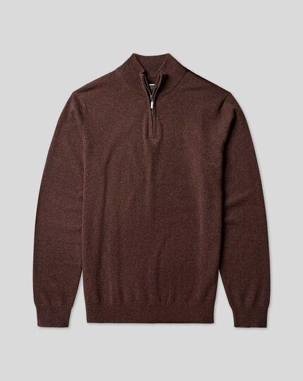 Cashmere Zip Neck Sweater - Chocolate