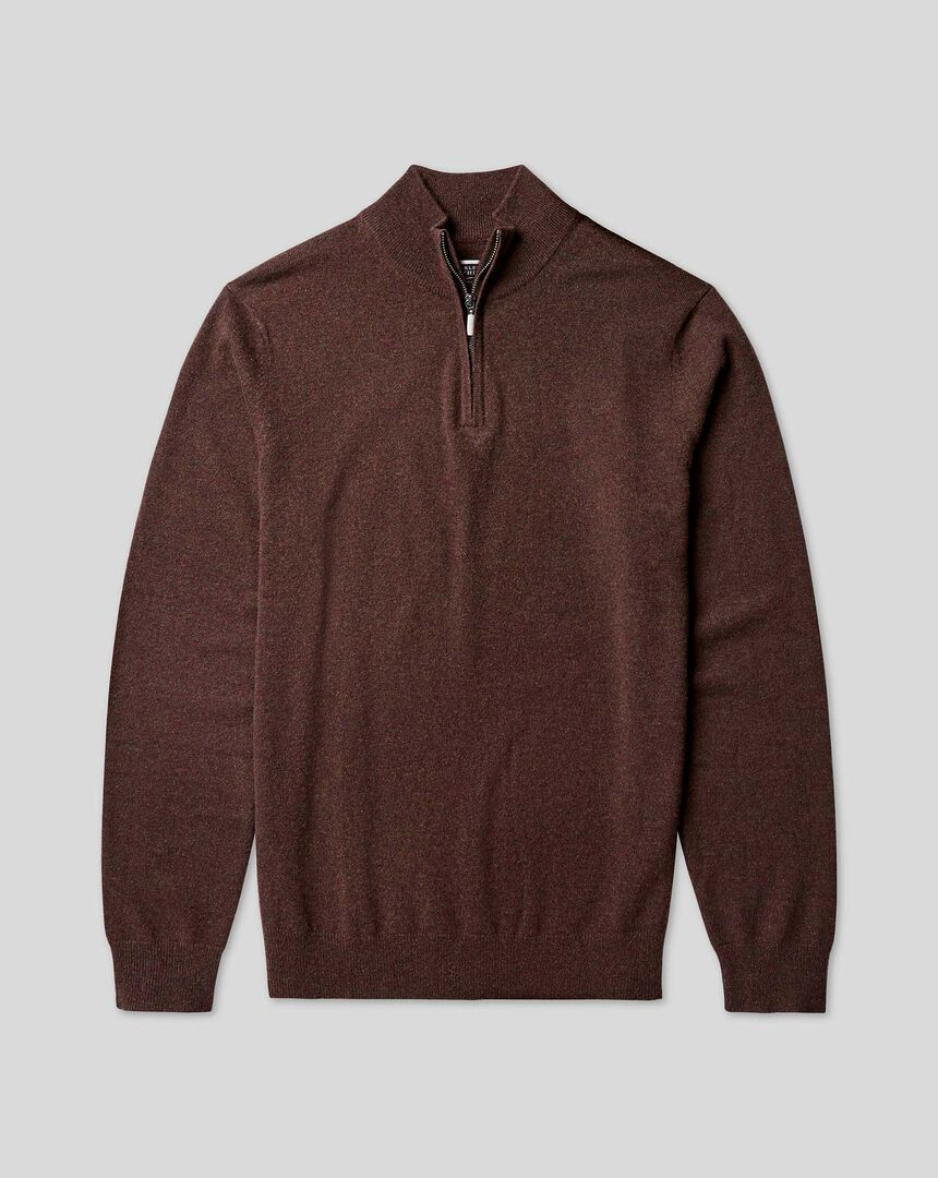 Cashmere Zip Neck Jumper - Chocolate