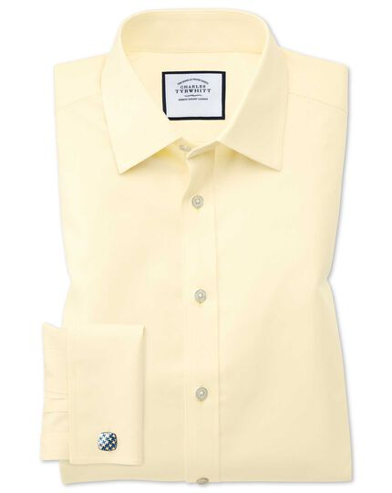 Classic fit non-iron twill yellow shirt