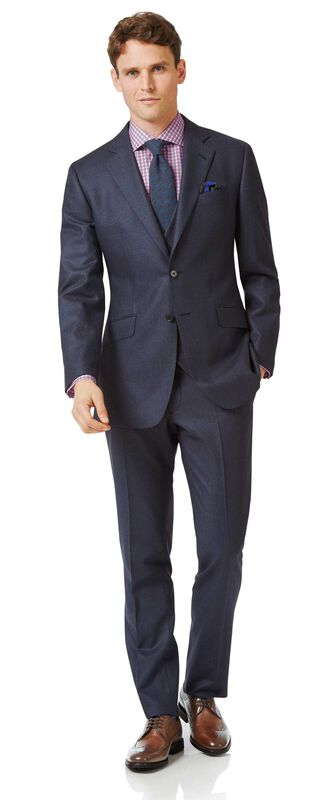 Airforce blue slim fit flannel business suit