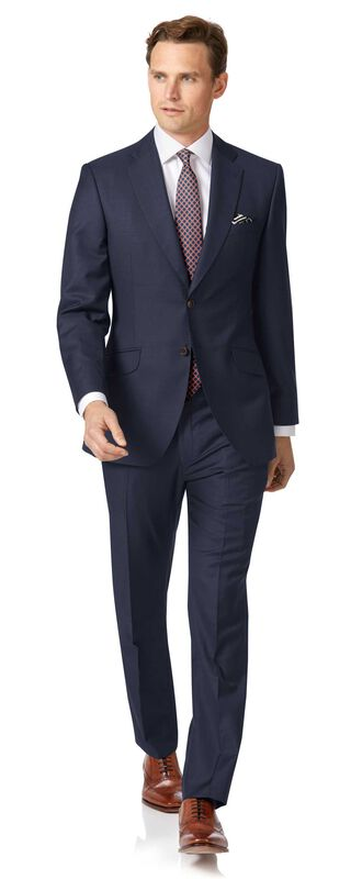 Navy slim fit wool with cahsmere Italian suit