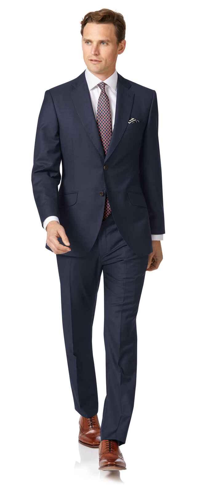 Italienischer Anzug Slim Fit Wolle/Kaschmir in Marineblau