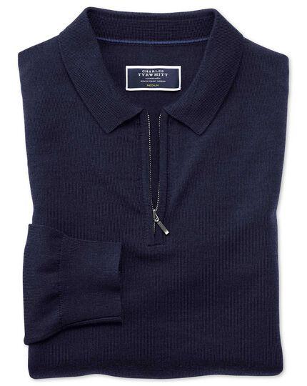 Navy merino zip polo collar sweater