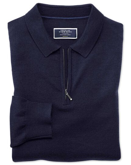 Navy merino zip polo collar sweater