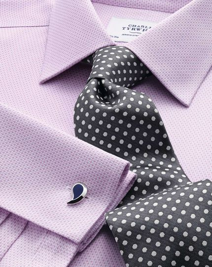 Slim fit non-iron imperial weave lilac shirt