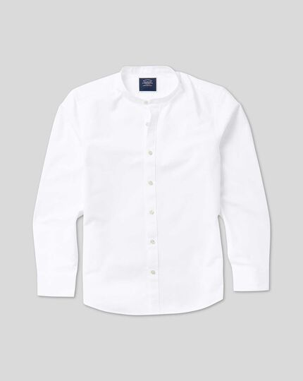 Collarless Shirt - White