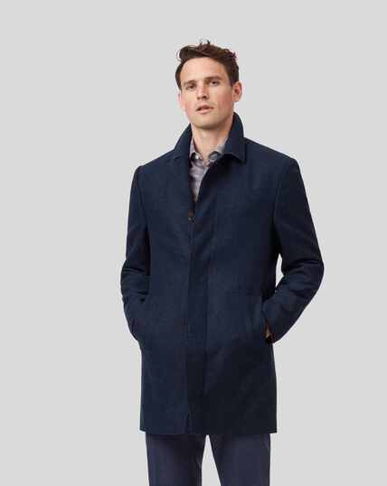 Wool Car Coat - Navy