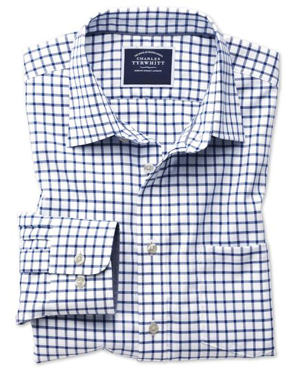 Slim fit non-iron Oxford white and navy grid check shirt