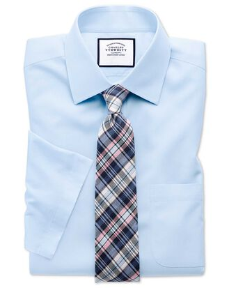 Slim fit sky blue non-iron poplin short sleeve shirt